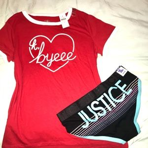 NWT Justice T-shirt and underwear Size 18/20